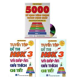 Combo 3 sách Bộ đề tuyển tập đề thi năng lực Hán Ngữ HSK 3 và đáp án giải thích chi tiết +5000 từ vựng tiếng Trung thông dụng nhất+ DVD tài liệu