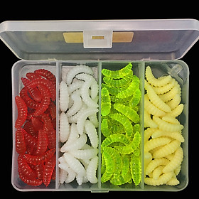 100Pcs/Set Soft Silicone Worm Bait Set Sea Fishing Tackle Wobbler Fishing Lure with Tackle Box