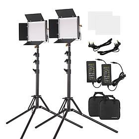 Bộ Đèn LED Andoer + 2 Bộ Chân Đứng (78.7 Inch 660 Đèn LED) + Bảng Điều Khiển 2 Màu (3200-5600K CRI 85+) Với Giá Đỡ Chữ U