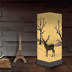 Christmas Deer Night Light Children Bedroom Bedside Lamp Romantic Shadow Lamp LED Night Lamp USB/Battery Dual Power Supply