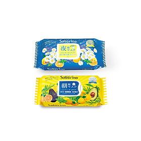 Combo mặt nạ buổi tối Saborino Good Night  (Gói 28 Miếng) và mặt nạ dưỡng ẩm buổi sáng hương trái cây Saborino Morning