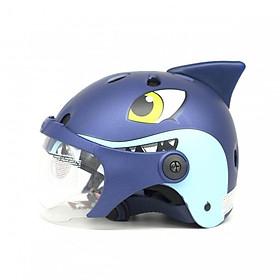 Mũ Bảo Hiểm Trẻ Em _ Mũ Bảo Vệ Đầu cho bé N035 Cá mập có kính chống bụi, chống nắng _ Cá mâoj hình thú sừng siêu ciu_ Lồng ép nhiệt nhiều lỗ thông gió, thoáng khí