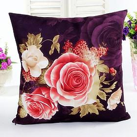 Hình đại diện sản phẩm Peony Designed Flower Flax Home Decor Vintage Sofa Waist Throw Cushion Cover