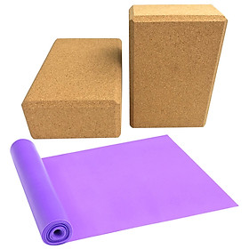 2PCS Cork Yoga Blocks Yoga Bricks with Resistance Band Strap for Yoga Exercise Workout