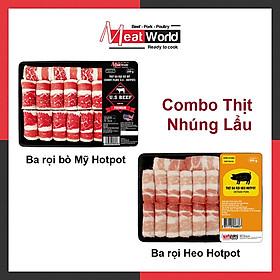 [Chỉ Giao HCM] - Combo lẩu Meat World(Ba rọi bò Mỹ 300g & Ba rọi heo 500g Hotpot)