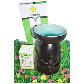 Combo đèn xông tinh dầu nến số 3 + tinh dầu sả chanh 10ml Bio Aroma tặng kèm 10 viên nến tealight (đèn giao màu ngẫu nhiên)