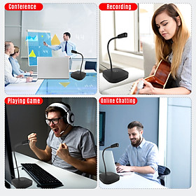 Desktop Computer Microphone USB Wired Microphone 360 Degrees Omnidirectional Condenser Mic Adjustable Neck with Mute