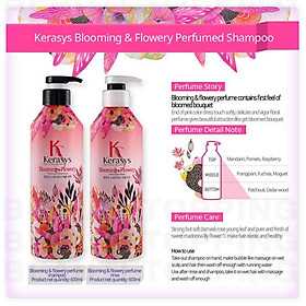 Dầu xả nước hoa KeraSys Blooming& flowery - Hương tuyết tùng và linh lan Hàn Quốc 600ml tặng kèm móc khoá-5