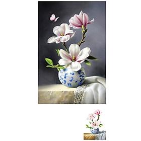 tranh đính đá Bình hoa đẹp 50x80cm - chưa đính