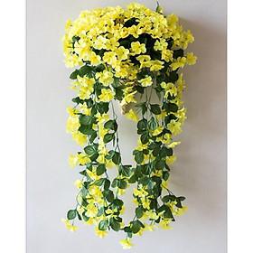 Chùm hoa giả Violet treo tường trang trí phòng khách, nhà hàng, spa, khách sạn V202  kèm giỏ treo (tặng 2 móc dán tường 3D)