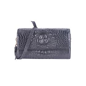 Túi Đeo Chéo Nữ Da Cá Sấu Huy Hoàng HT6228 (14.5 x 24.5 cm) - Đen