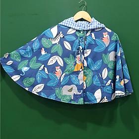 Áo khoác chống nắng cho bé trai bé gái 4 mùa kiểu áo cánh dơi poncho  mẫu thú rừng xanh đáng yêu dễ thương cho bé từ sơ sinh đến 12 tuổi