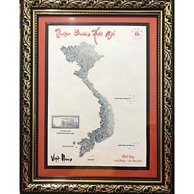 Tranh thủ công Việt Nam Thuận buồm xuôi gió ghép từ tiền cổ tờ 500 đồng cụ Trần Hưng Đạo, trưng bày biếu tặng