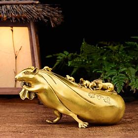 Tượng chuột kéo bao tài lộc bằng đồng thau phong thủy Hồng Thắng