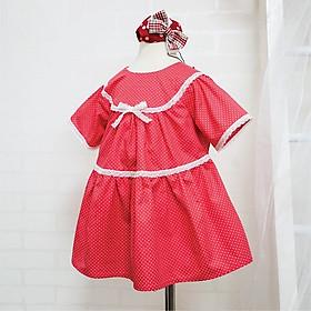 Váy bé gái mùa hè Kimbibi màu đỏ chấm bi