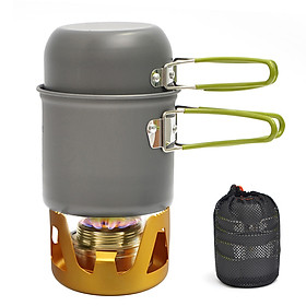 Mini Alcohol Stove Cooking Pot Cookset for Outdoor Camping Hiking Backpacking Fishing