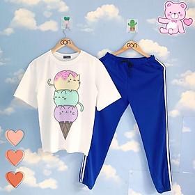 Set áo tay lửng quần thun 2 sọc XANH unisex, quần dài 2 sọc, 3 sọc Áo tay lỡ và quần thể thao