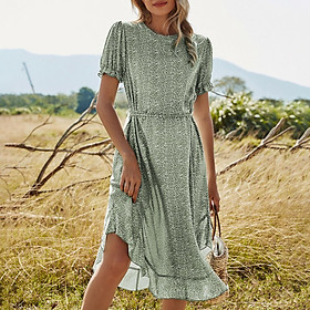 Women Floral Dress Shore Sleeve Irregular Ruffles Hem Summer Holiday Boho Vintage Dress Green