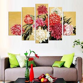 Tranh treo tường, tranh trang trí PP_ NT558 bộ 5 tấm ghép hoa mẫu đơn