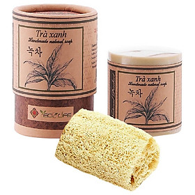 Xà phòng trà xanh tặng xơ mướp - Green Tea Handmade Soap