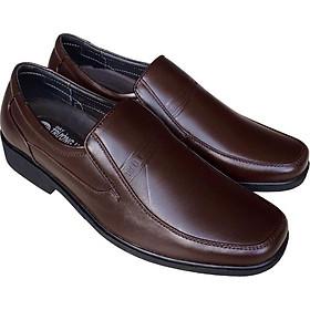 Giày tây nam Trường Hải da bò thật không bong tróc đế cao su không trơn màu nâu GTN05982