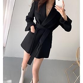Áo Blazer Vest dạ len dáng dài thắt đai phong cách thời trang Hàn Quốc