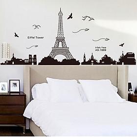 Decal dán tường thành phố Paris và tháp Eiffel xinh đẹp của nước pháp ZOOYOO KK049