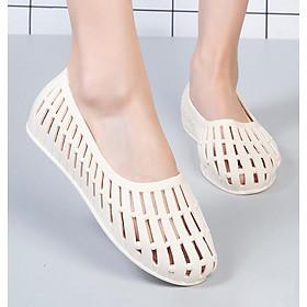 Giày nhựa đi mưa nữ đi biển chống trơn trượt đế bằng nhiều màu V250
