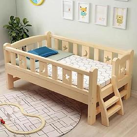 Giường trẻ em quây 4 mặt có cầu thang size 150*70*70 gỗ thông, có cầu thang