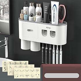 Bộ 2 nhả kem đánh răng tự động OENON, Kệ nhà tắm thông minh kèm cốc láp đặt dán tường - 2NHAKEM