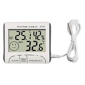 Nhiệt ẩm kế điện tử để bàn hiển thị nhiệt độ, độ ẩm ở trong phòng và ngoài trời M13 ( Tặng kèm 03 nút kẹp cao su đa năng giữ dây điện cố định ngẫu nhiên )