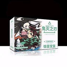 Hộp quà SURPRISE Kimetsu no Yaiba Thanh Gươm Diệt Quỷ A5 có poster postcard bookmark in hình anime chibi