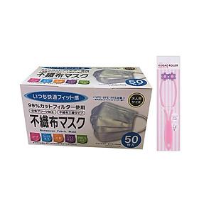 Hình đại diện sản phẩm Combo Khẩu Trang Y Tế Kháng Khuẩn (50 Cái) + Dụng Cụ Massage Mặt Thon Gọn - Nội Địa Nhật Bản