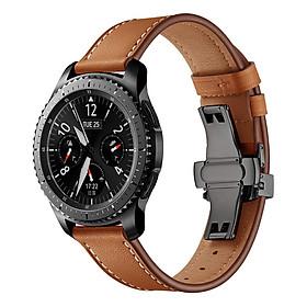 Dây Da Dành Cho Galaxy Watch 46, Huawei GT, Gear S3 Khóa Chống Gãy Màu Đen (Size 22mm)