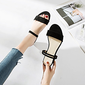 IELGY Thick heel sandals women wear Korean version with a word out wearing Roman shoes women