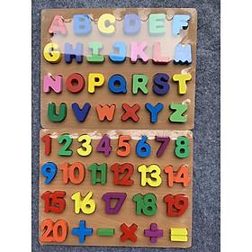 Combo bảng tiếng anh in hoa nổi và 20 số cộng trừ nổi - Đồ chơi gỗ an toàn cho bé MK