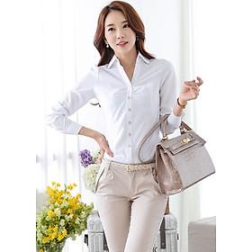 Sơ mi công sở màu trắng mịn đẹp DVSM44