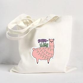 Túi Vải Đeo Vai Tote Bag In Hình No Problem Llama  Mẫu 01 - Hàng Chính Hãng