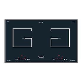 Bếp điện 02 từ CANAVAL CA-9939 Inverte Bo điều khiển Italia Chíp điều khiển SIMENS Mặt kính Ceramic Viền vàng 4 cạnh - Màu đen (4000W) - Hàng chính hãng Malaysia