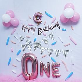 Set trang trí sinh nhật, thôi nôi cho bé xinh xắn, lạ mắt cùng dây chữ HPBD, bóng hình, phụ kiện đáng yêu kèm keo dán YBHP-059