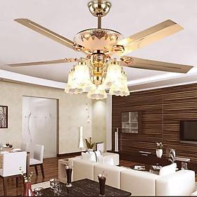 Quạt trần có đèn trang trí 5 đèn có điều khiển từ xa và hẹn giờ