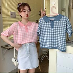 Áo thun cổ polo tay ngắn họa tiết sọc ca rô thời trang phong cách retro Hàn Quốc cho nữ