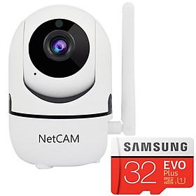 Camera IP Wi-fi NetCAM NR02 1080P Tặng Kèm Thẻ Nhớ Samsung 32GB/95MB - Hàng Chính Hãng