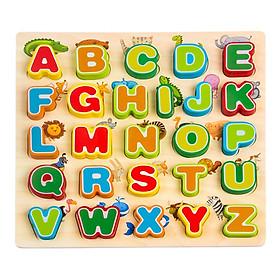 Đồ chơi gỗ SK - Bảng chữ cái tiếng anh nổi in hoa cao cấp giúp bé tập làm quen với chữ cái