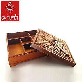 Khay (hộp) đựng bánh mứt kẹo bày tết bằng Gỗ hương (Hàng loại 1) Nắp vuông - Chúc Mừng Năm Mới