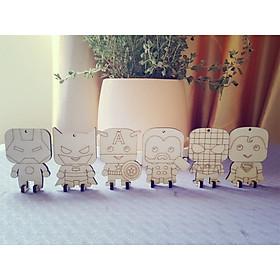 Bộ đồ chơi tô màu bằng gỗ 6 siêu anh hùng, quà tặng cho các bé trai