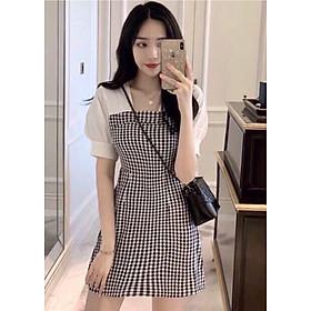 Đầm caro đen phối trắng