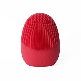 Máy rửa mặt silicone chạy pin MINISO SILICONE FACIAL CLEANER kết hợp làm sạch sâu và mát xa thư giãn nhờ sóng âm (đỏ) chính hãng - MNS071