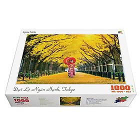 Bộ tranh xếp hình jigsaw puzzle cao cấp 1000 mảnh ghép – Đại Lộ Ngân Hạnh, Tokyo