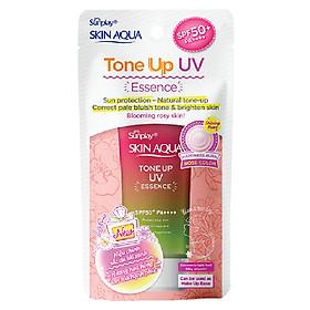 Tinh Chất Chống Nắng Nâng Tông Dành Cho Da Khô/Thường Sunplay Skin Aqua Tone Up UV Essence Happiness Aura (Rose) (Cho Da Sáng Hồng, Khuyết Điểm Xanh) (50g)